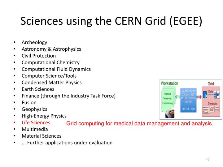 Sciences using the CERN Grid (EGEE)