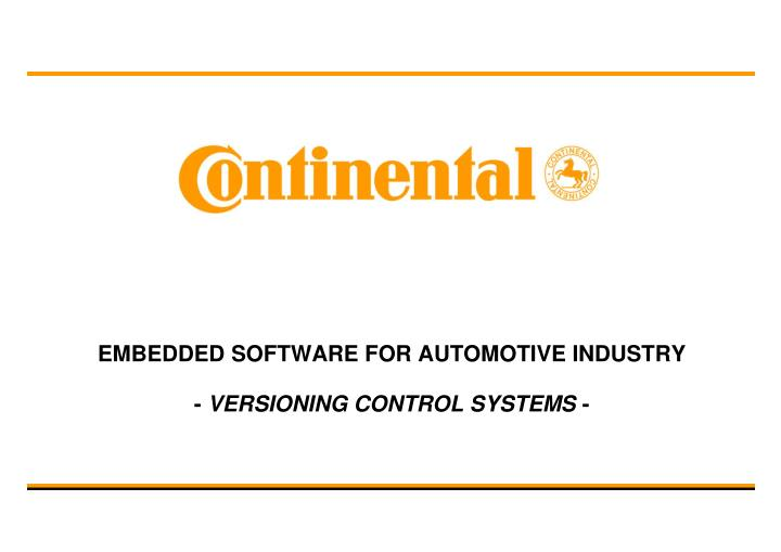 embedded software for automotive industry versioning control systems n.