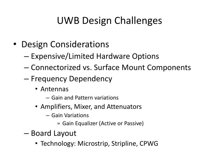 UWB Design Challenges