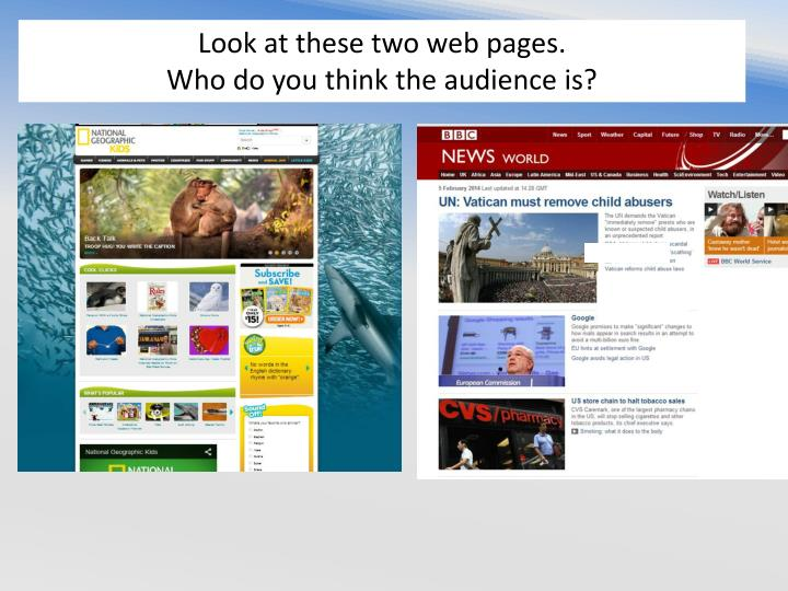 Look at these two web pages.