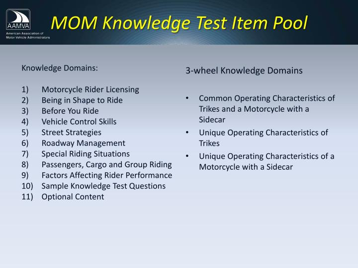 MOM Knowledge Test Item Pool