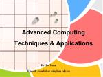 advanced computing techniques applications