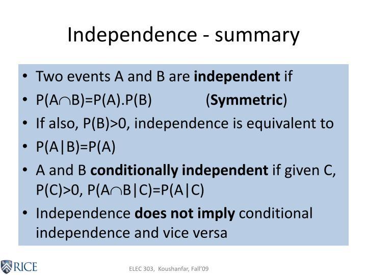 Independence summary