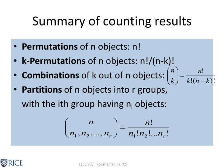 Summary of counting results