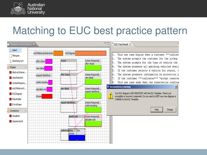 Matching to EUC best practice pattern