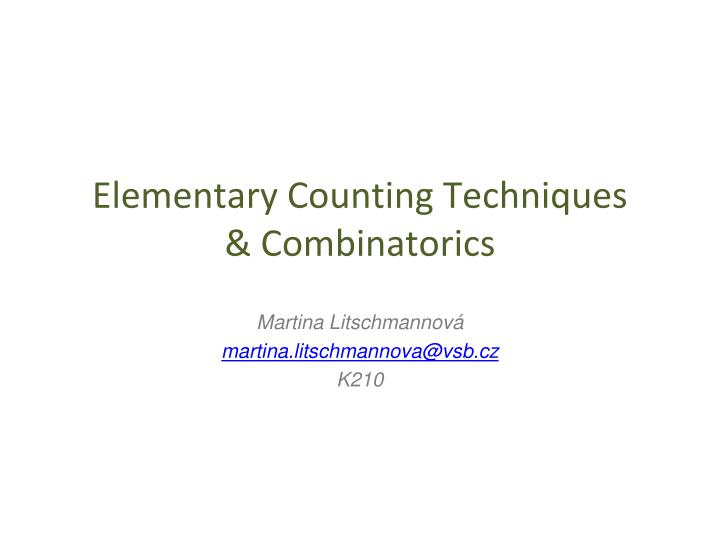 elementary counting techniques combinatorics n.
