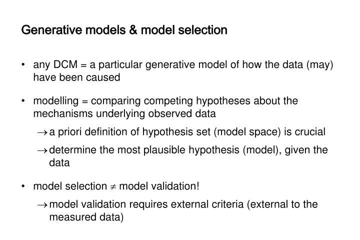 Generative models & model selection