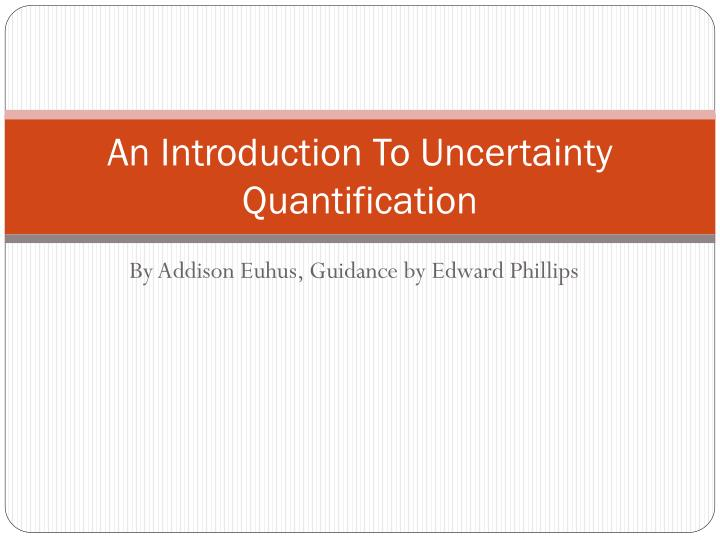 An introduction to uncertainty quantification