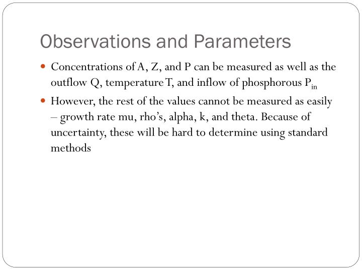 Observations and Parameters