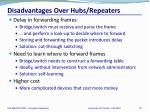 disadvantages over hubs repeaters