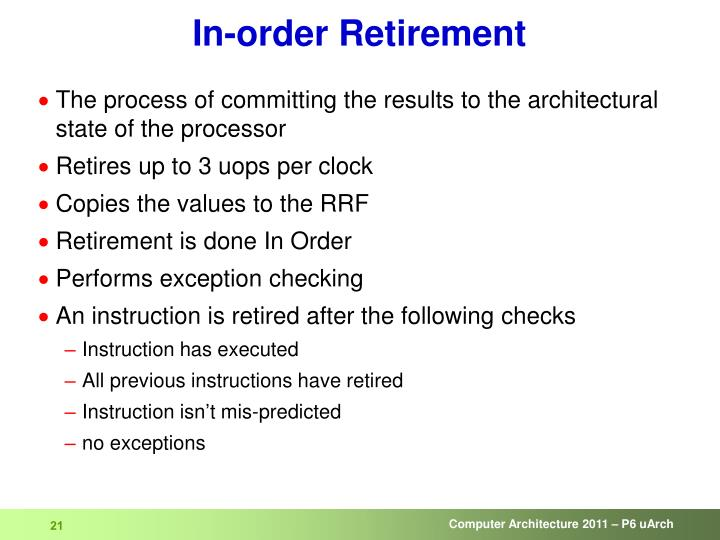 In-order Retirement