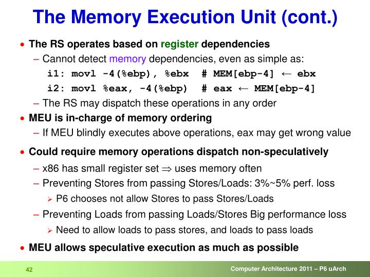 The Memory Execution Unit (cont.)