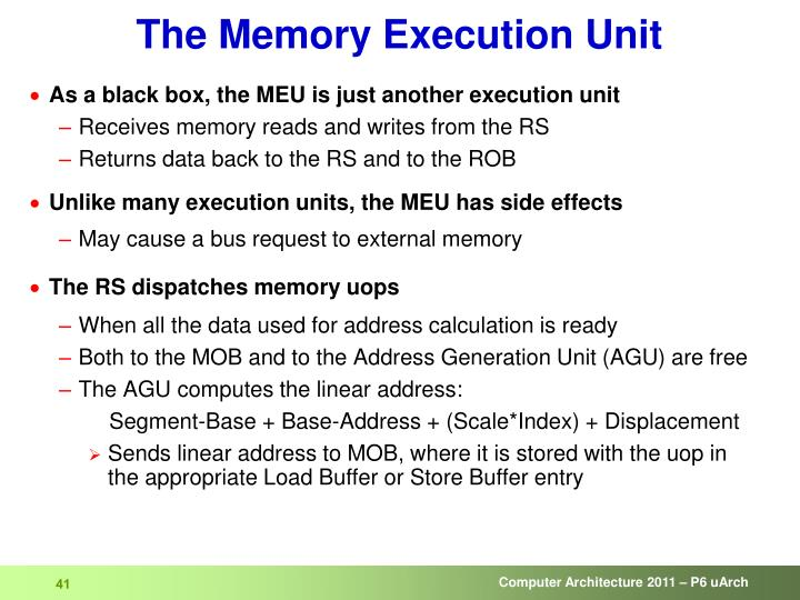 The Memory Execution Unit