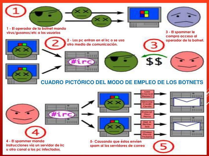 1 - El operador de la botnet manda virus/gusanos/