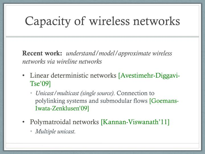 Capacity of wireless networks