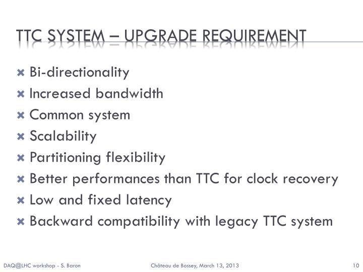 TTC system – upgrade requirement