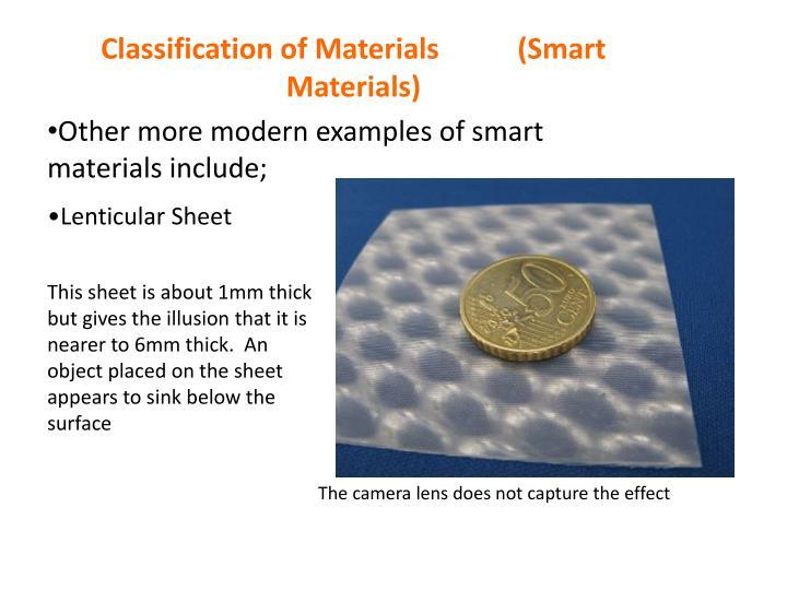 Classification of Materials           (Smart Materials)
