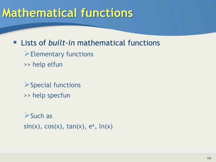 Mathematical functions