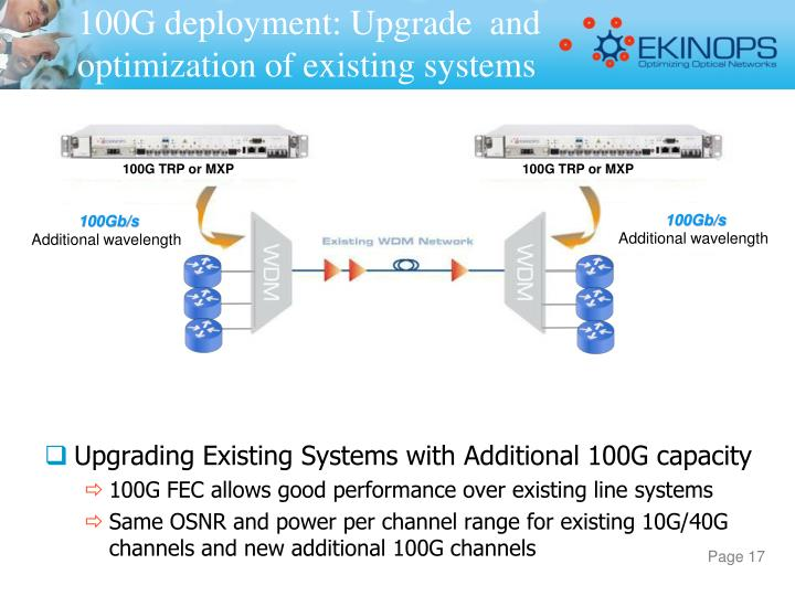 100G deployment: Upgrade  and optimization of existing systems