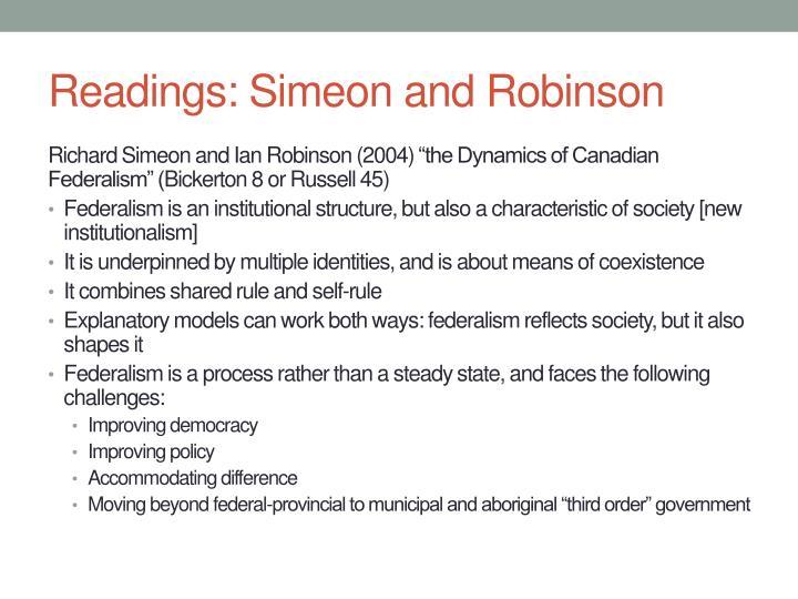 Readings: Simeon and Robinson
