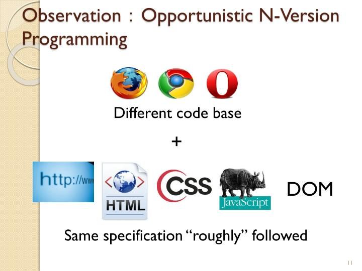 Observation:Opportunistic N-Version Programming
