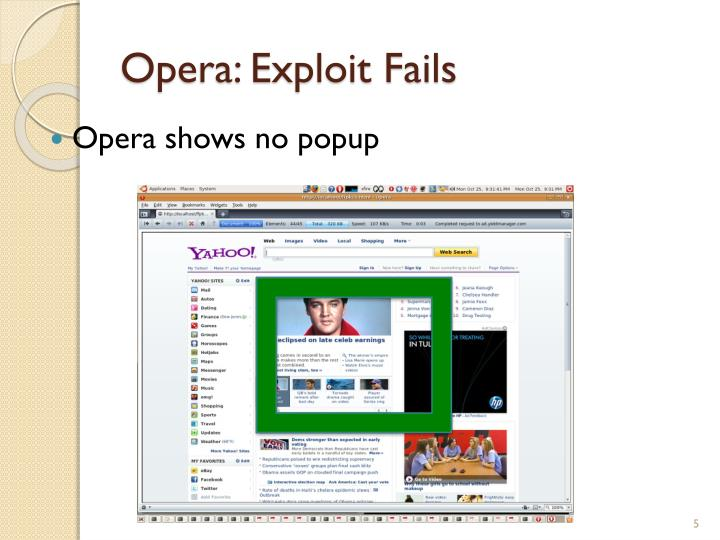 Opera: Exploit Fails