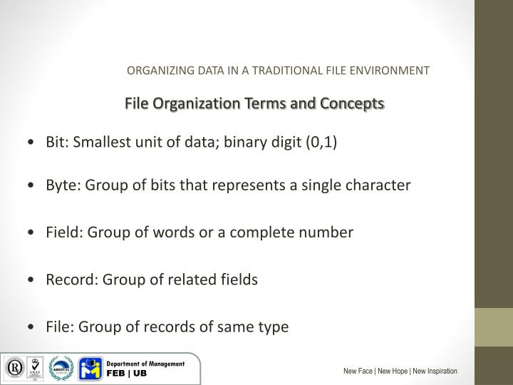 ORGANIZING DATA IN A TRADITIONAL FILE ENVIRONMENT
