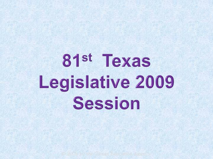 81 st texas legislative 2009 session