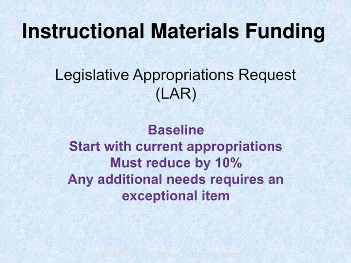 Legislative Appropriations Request