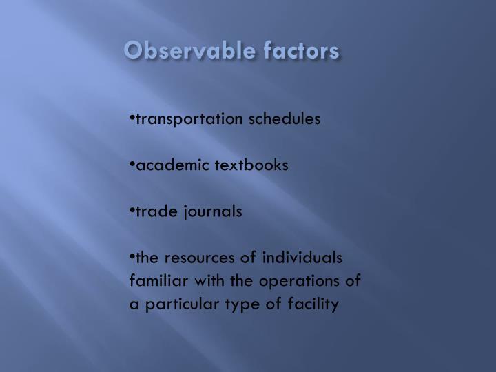 Observable factors