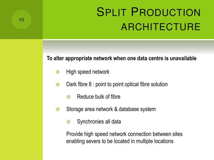 Split Production architecture