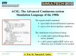 acsl the advanced continuous system simulation language of the 1980s1