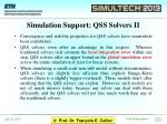 simulation support qss solvers ii