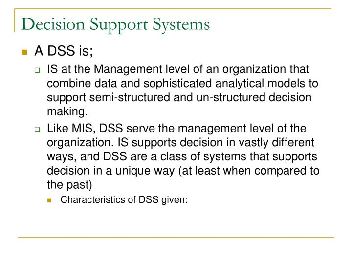 Decision support systems1