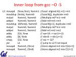 inner loop from gcc o s