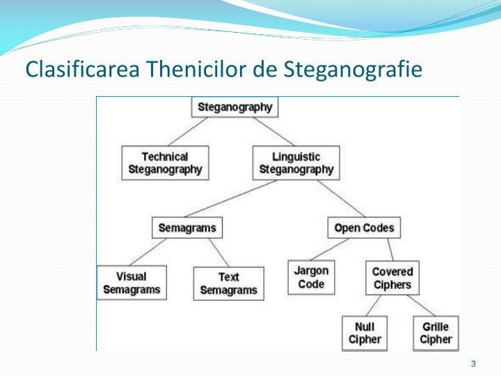 Clasificarea thenicilor de steganografie