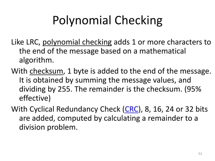 Polynomial Checking