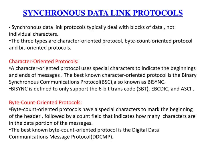SYNCHRONOUS DATA LINK PROTOCOLS