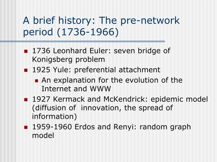 A brief history: The pre-network period (1736-1966)