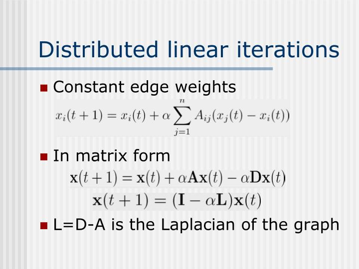 Distributed linear iterations