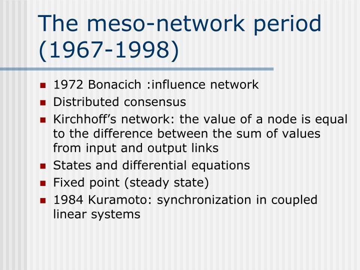 The meso-network period (1967-1998)