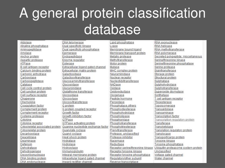 A general protein classification database