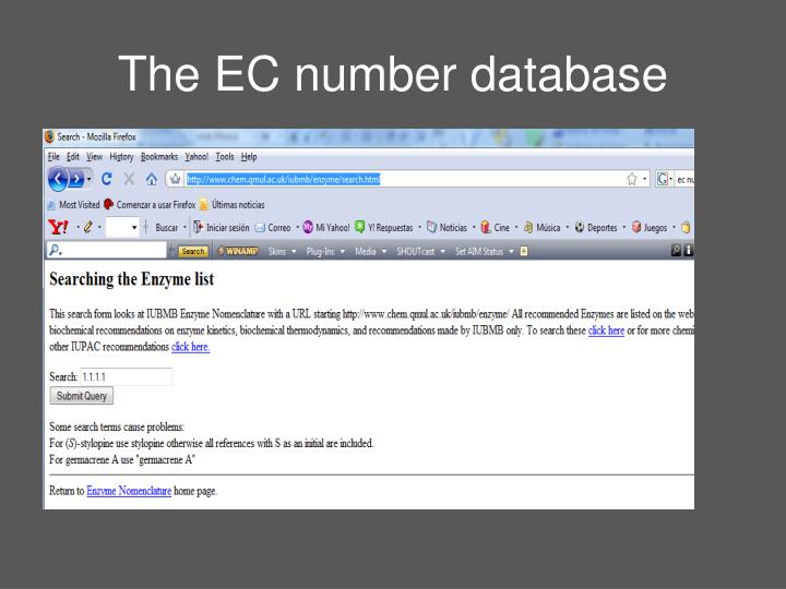 The EC number database