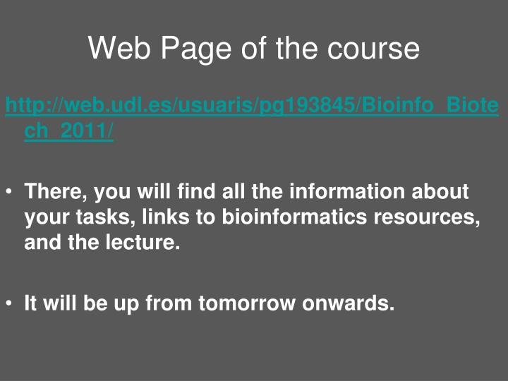 Web Page of the course