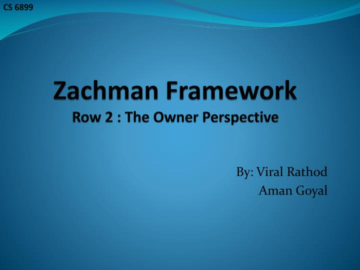 zachman framework row 2 the owner perspective n.