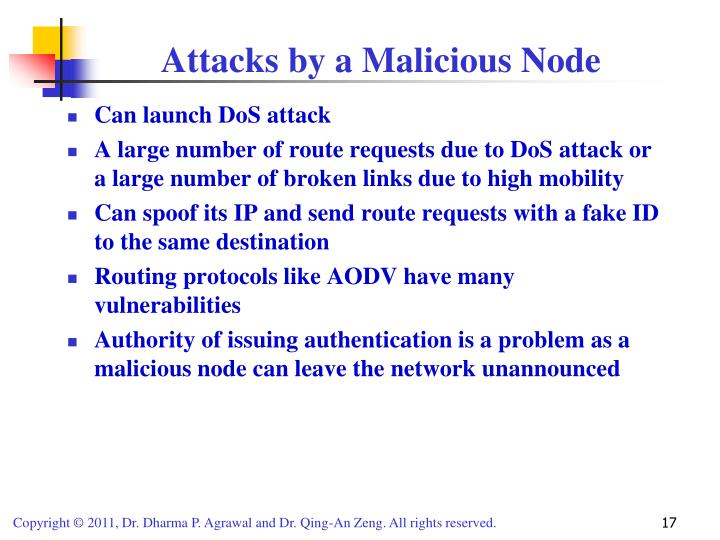 Attacks by a Malicious Node