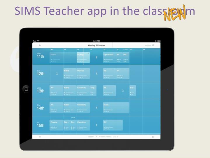 SIMS Teacher app in the classroom