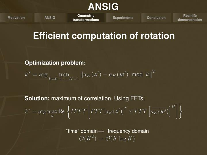 Efficient computation of rotation
