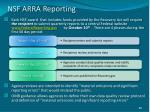 nsf arra reporting