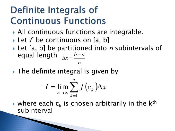 Definite Integrals of